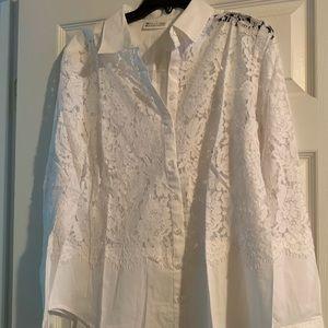 Shirt-White Lace Button Down